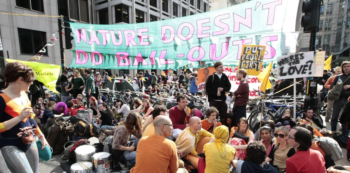 Protesters stage a climate camp outside the European Climate Exchange in Bishopsgate, London, in 2009