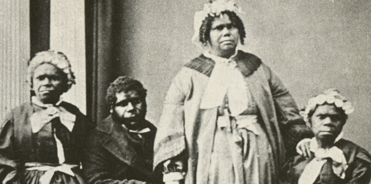 BRITISH MADE GENOCIDE: The last four Tasmanian Aborigines of solely Aboriginal descent c1860s. Truganini, the last to survive, is seated at far right