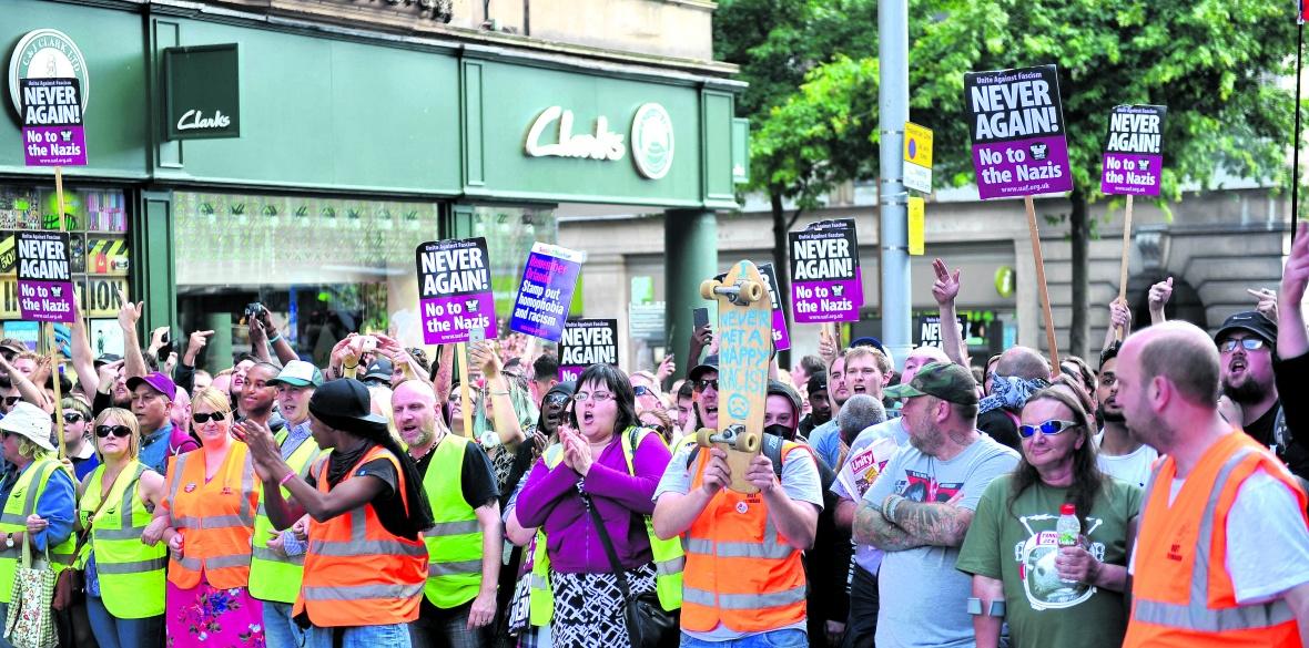 British anti-nazi demonstrators