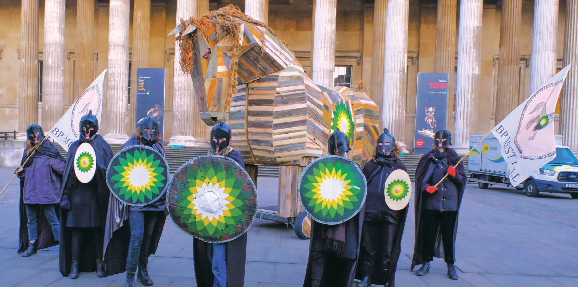 BP or Not BP? activists bring a Trojan Horse into the British Museum to protest at the institution's continued support for BP