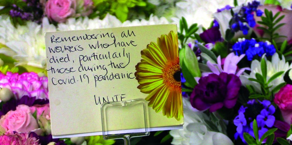 Flowers in Britain commemorate coronavirus deaths