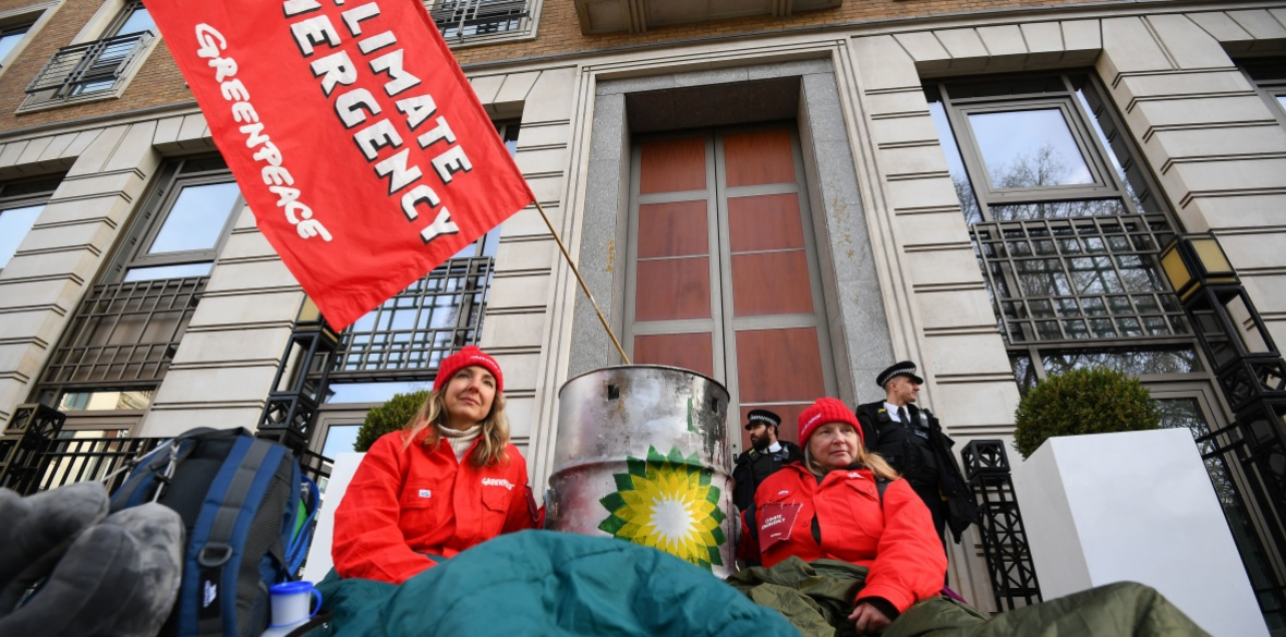 London Greenpeace activists outside BP headquarters