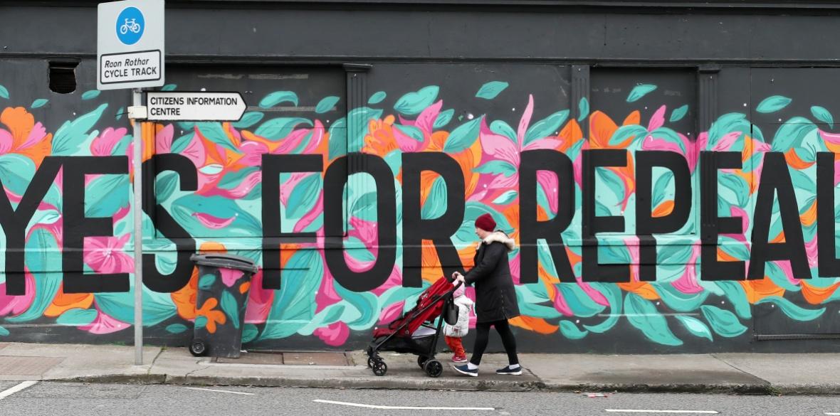 A sign in Ireland advocates repeal in the referendum on Irish anti-abortion legislation