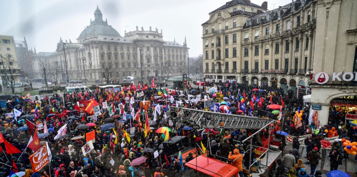 Anti-militarist demonstration against conference in Munich, Germany