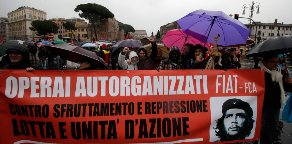Anti-fascist workers demonstrate in Rome, Italy