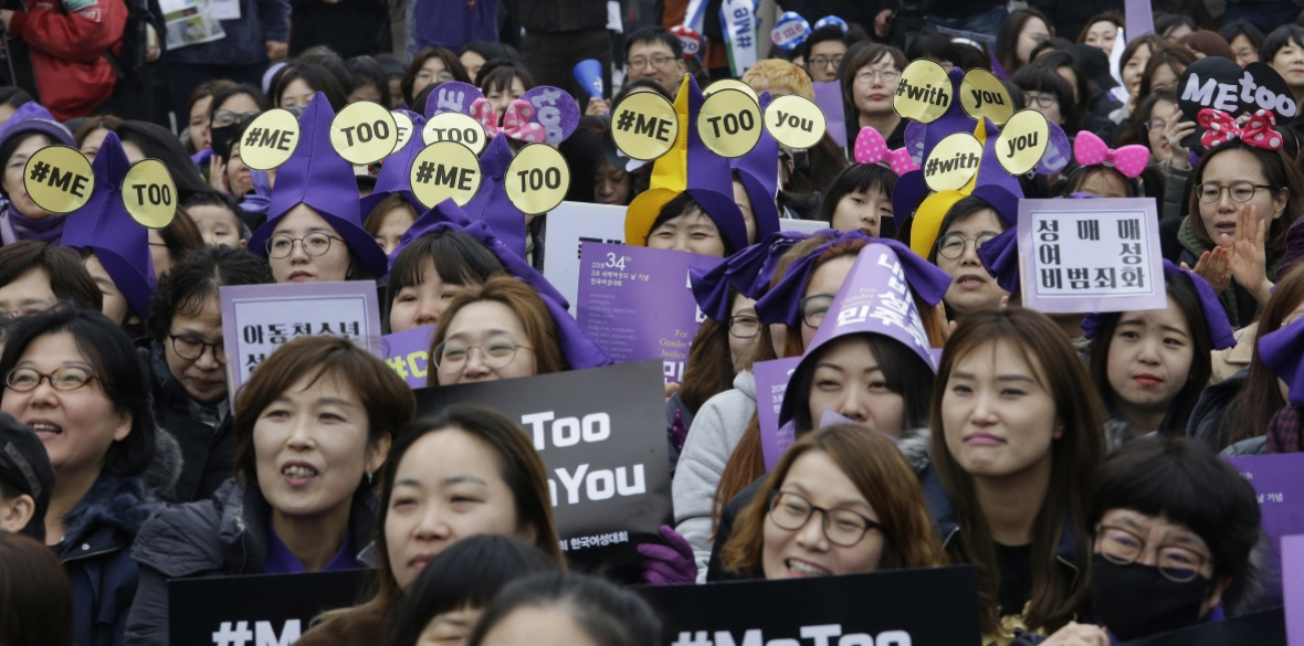 South Korean women supporting the MeToo movement attend a rally to mark the upcoming International Women's Day in Seoul, South Korea last Sunday