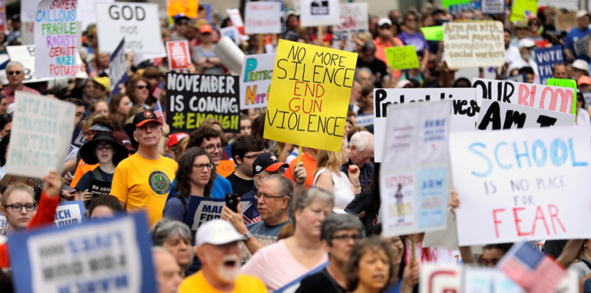 Demonstrators gather in downtown Houston for a 'March for Our Lives' protest for gun legislation and school safety Saturday