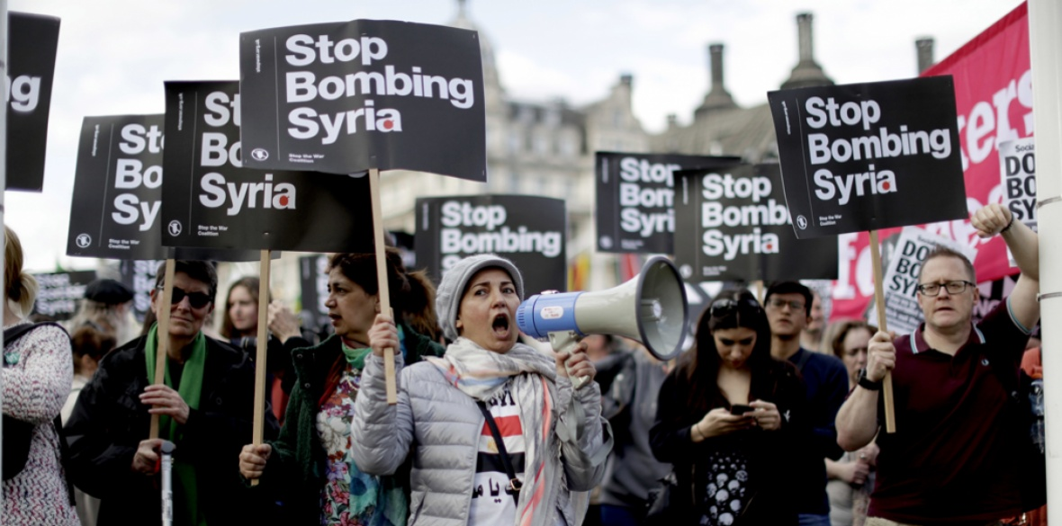Anti-Syria war demonstrators, London, 16 April 2018