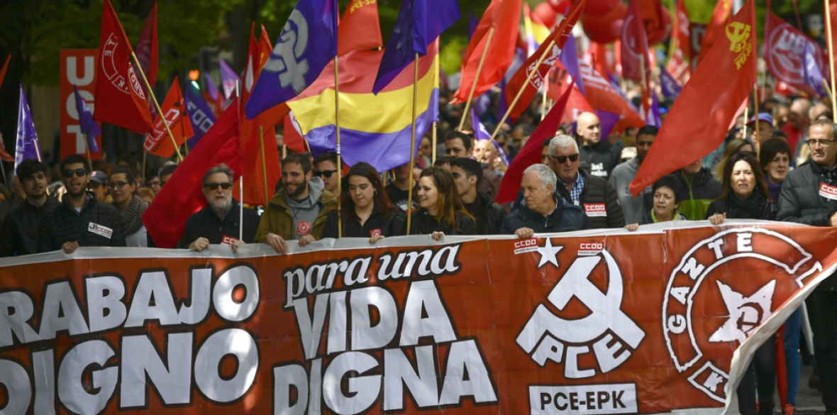 A May Day rally in Pamplona, Spain today