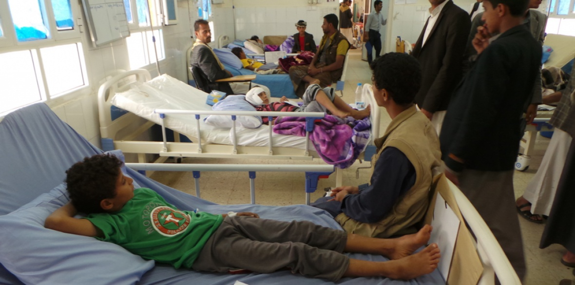 Children who survived a Saudi airstrike rest in the hospital in Saada, Yemen