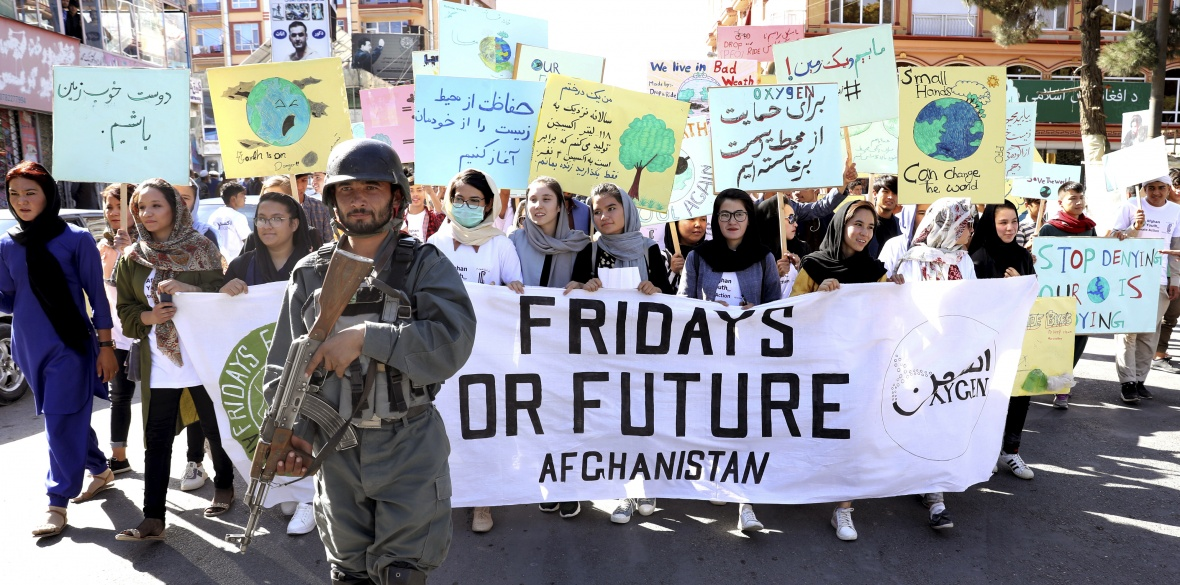 Young people attend a climate strike rally, in Kabul, Afghanistan