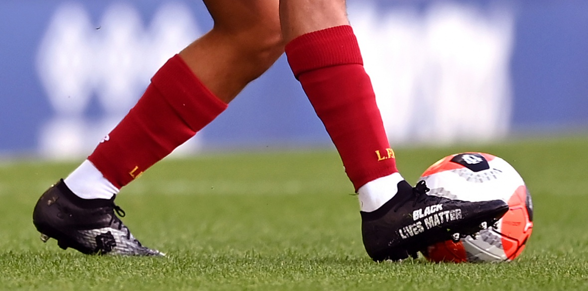 Black Lives matter slogan on English football shoe