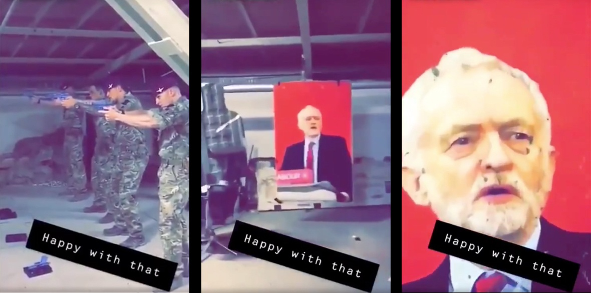 Screenshots from the video of British paratroopers shooting an image of Jeremy Corbyn circulating online today
