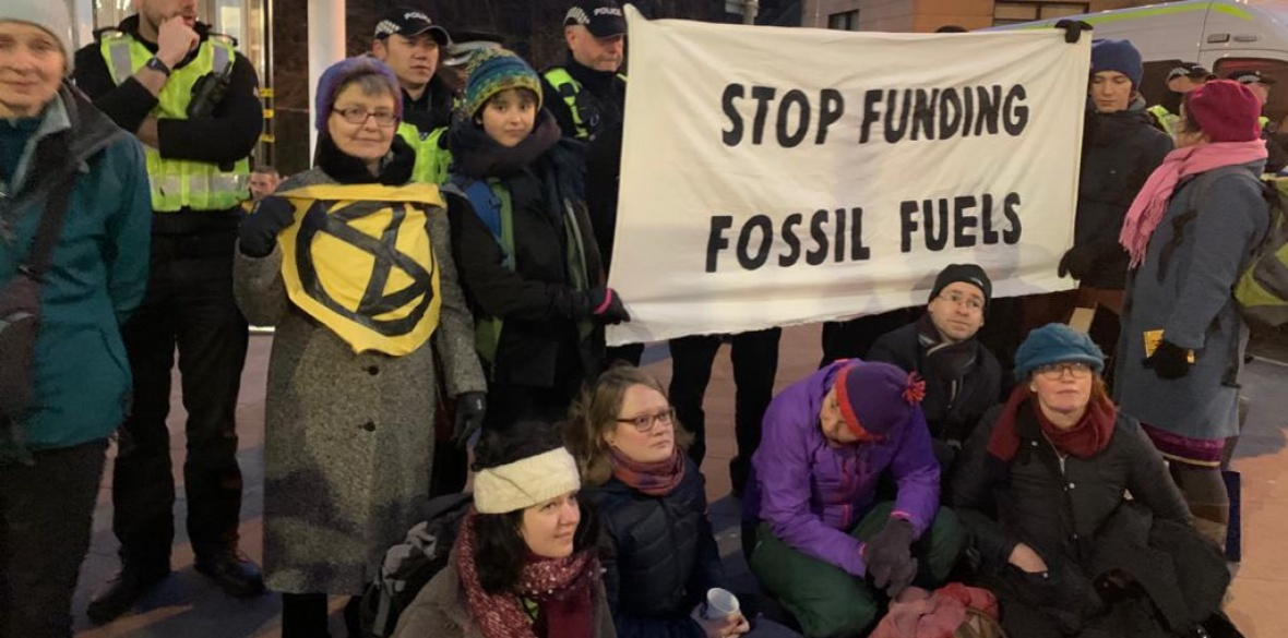 XR activists outside pension fund managers Baillie Gifford in Edinburgh