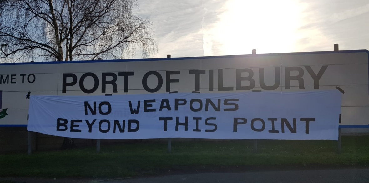 CAAT activists protest against the government's decision to allow a Saudi weapons ship to dock at Tilbury