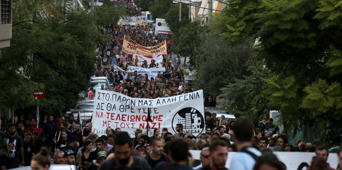 A huge demonstration in Piraeus, Athens, Greece this week. The front banner reads in red 'finish with the nazis.' Demos marked the fifth anniversary of the murder of rapper Pavlos Fyssas