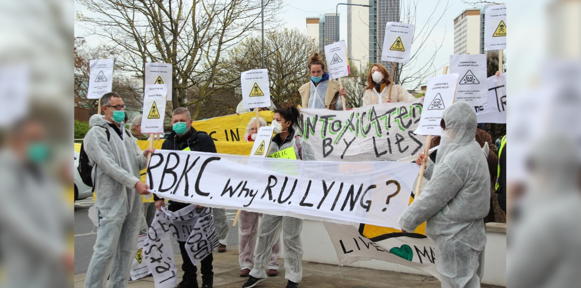 London Grenfell disaster area people protest over cancerous chemicals from Grenfell blaze, 5 April 2019