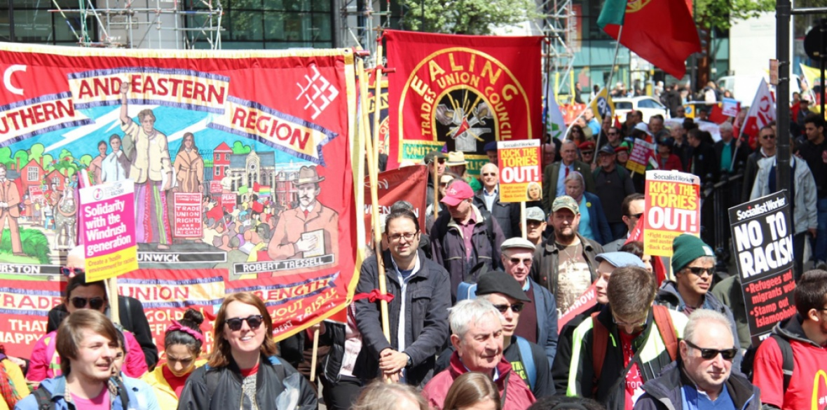 A May Day rally passes through London today