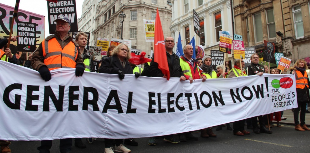 Anti-austerity marchers in London, England, photo by Ceren Sagir
