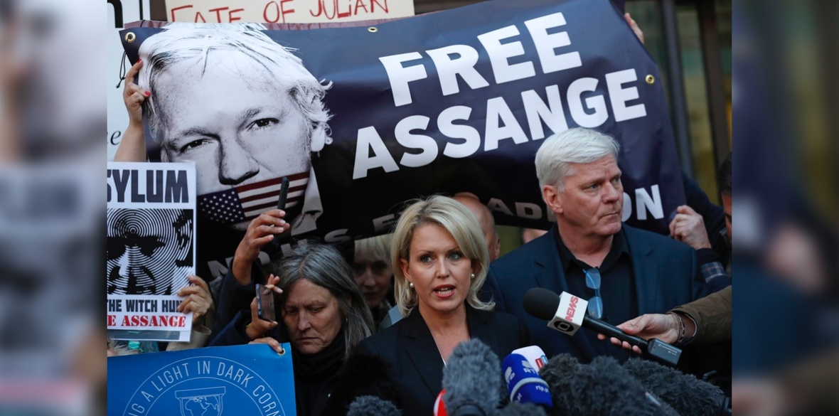Kristinn Hrafnsson, editor of WikiLeaks, right, and barrister Jennifer Robinson speak to the media outside Westminster magistrates court where WikiLeaks founder Julian Assange was appearing in London