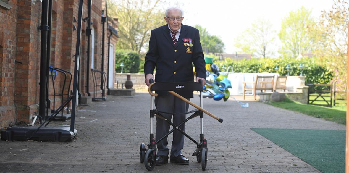 Captain Tom Moore raising money for the NHS
