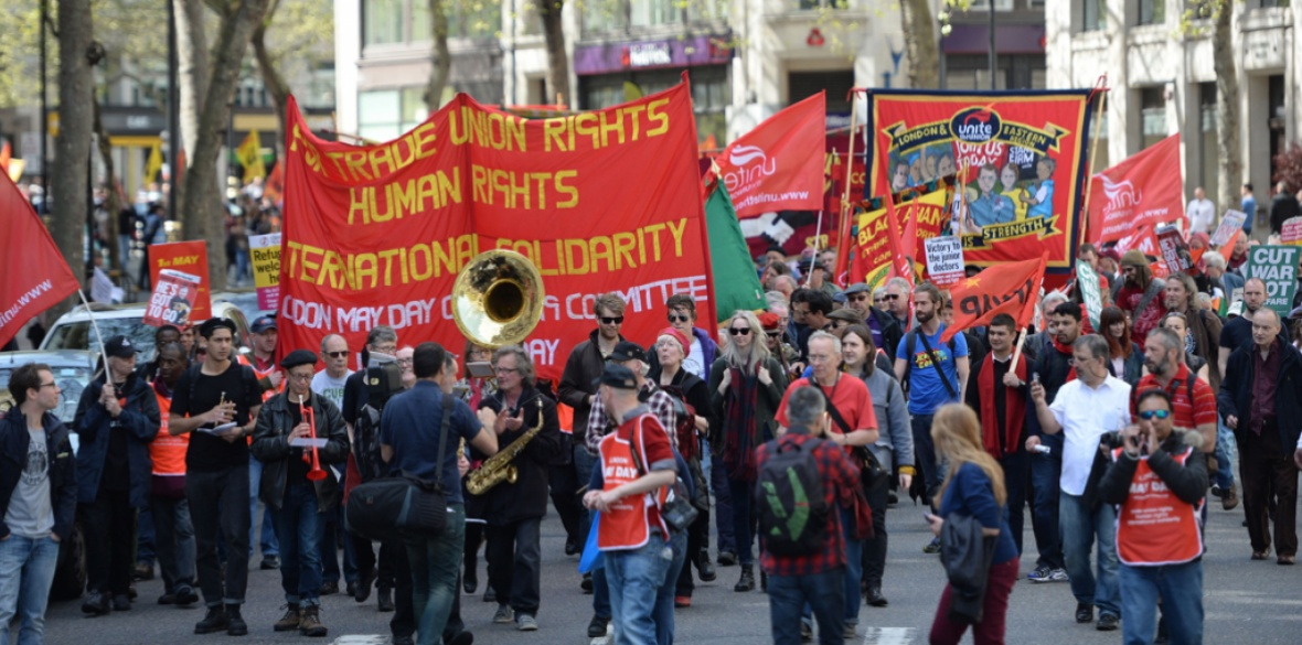 Thousands march to Trafalgar Square in central London, England to celebrate workers' achievements at a May Day rally in 2016