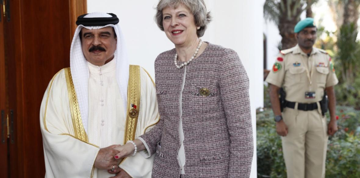 Theresa May meets the King of Bahrain Hamad Bin Isa Khalifa in Manama, Bahrain, in December 2016
