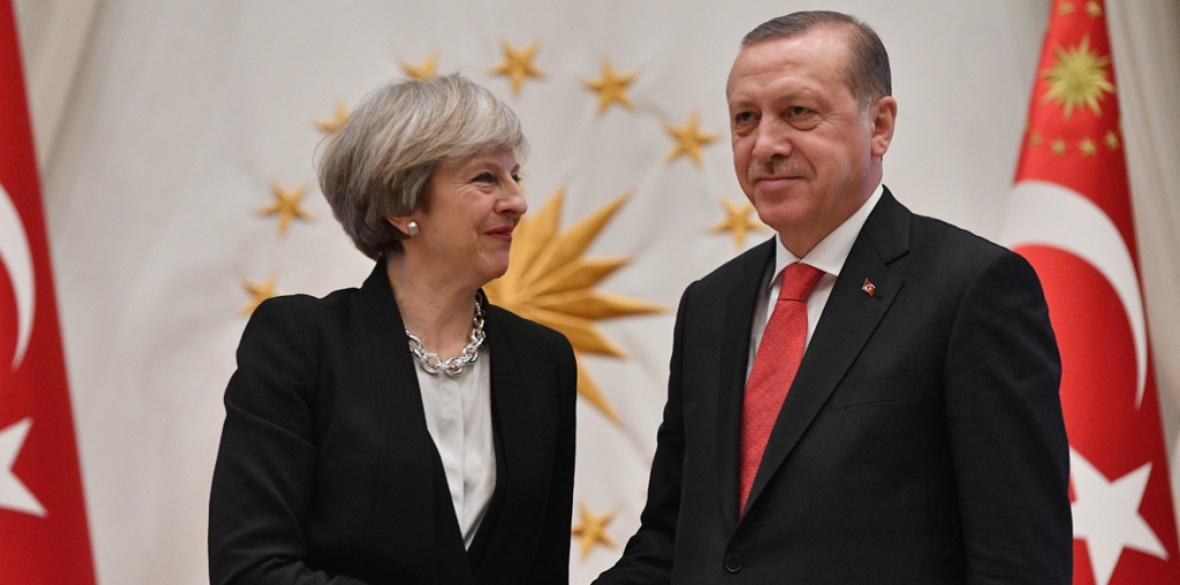 British Conservative Prime Minister Theresa May with the Turkish President Recep Tayyip Erdogan at the Presidential Palace in Ankara last year