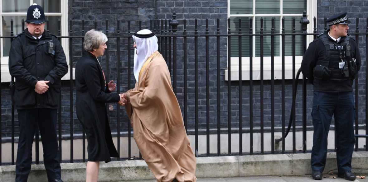 British Conservative Prime Minister Theresa May shakes hands with Sheikh Mohamed bin Zayed Al Nahyan, Crown Prince of UAE member state Abu Dhabi in 2017