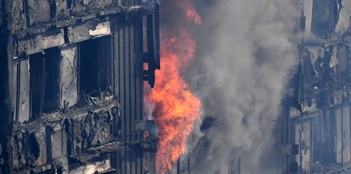 Grenfell Tower in west London, England burns