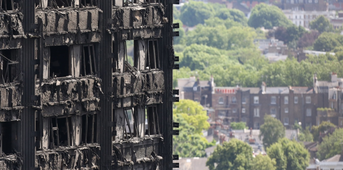 The burned-out remains of the Grenfell Tower block in London, England