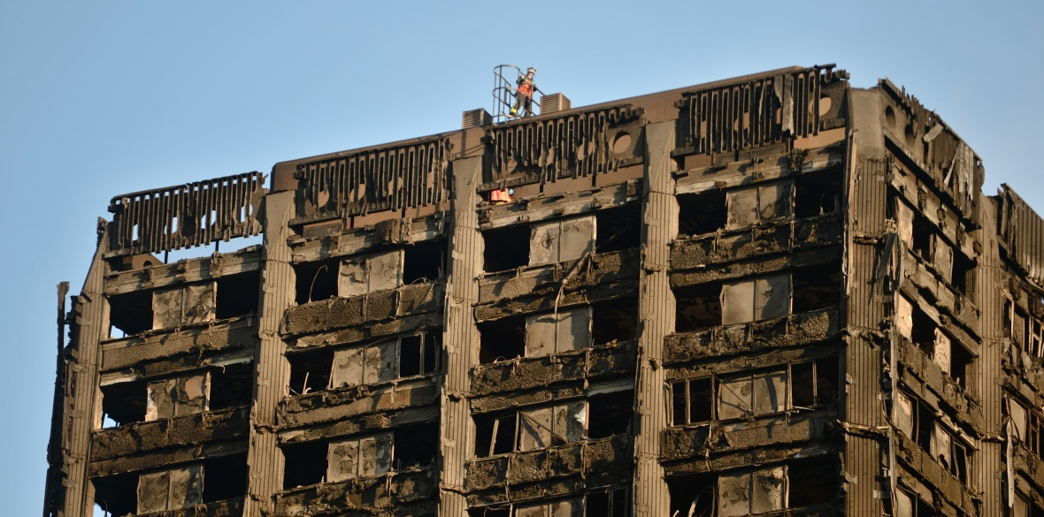 The burnt remains of Grenfell Tower in London, England
