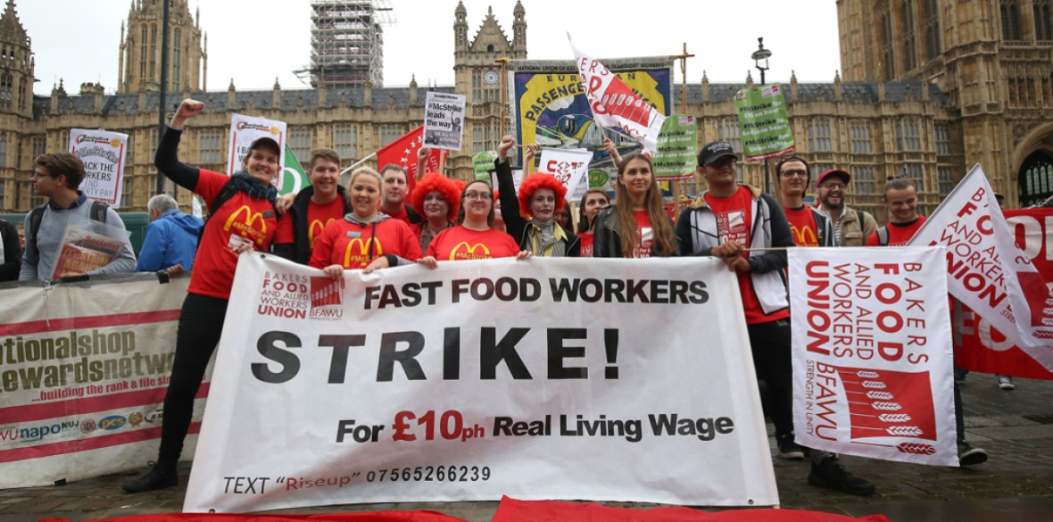 British McDonald's workers on strike