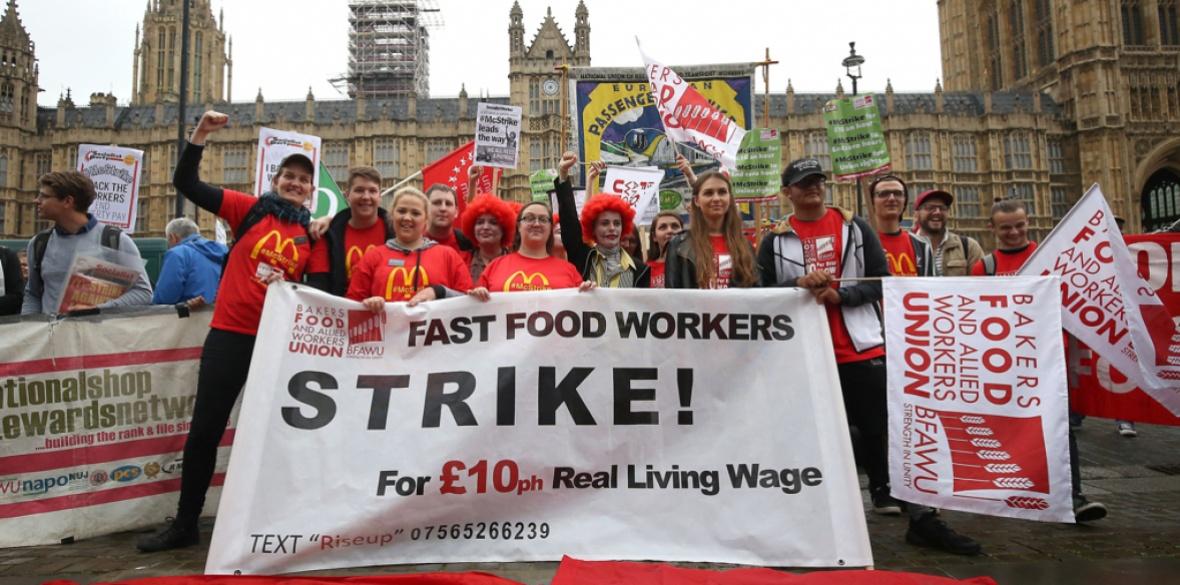 British McDonald's workers on strike