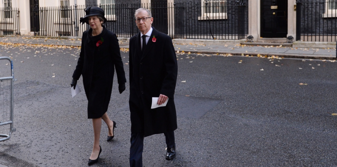 British Conservative Prime Minister Theresa May and her husband Philip May make their way to last year's remembrance service in London. Philip's company, Capital Group, is the largest shareholder in arms dealers BAE Systems