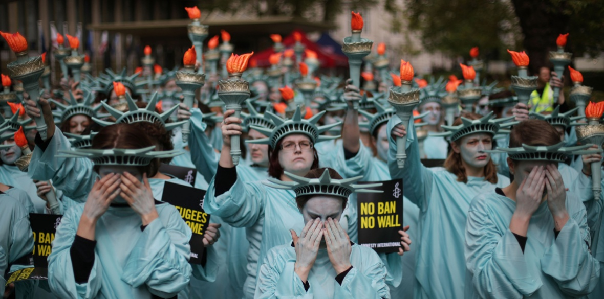 Amnesty International held a protest with 100 Statues of Liberty to mark US President Donald Trump's first 100 days in office last April outside the US Embassy in Grosvenor Square, London