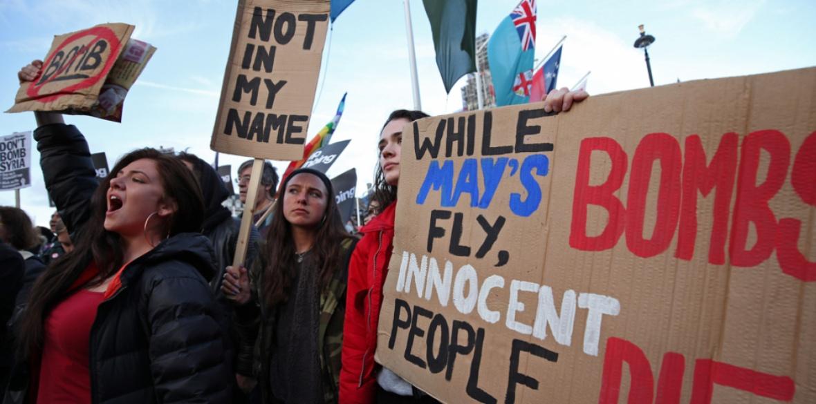 British demonstrators against bombing Syria