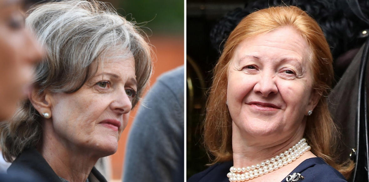 Elizabeth Campbell (left), the Conservative leader of the council linked to Grenfell Tower, who has condemned comments by former Conservative MP Victoria Borwick (right) that compared the west London community to 'gangs'