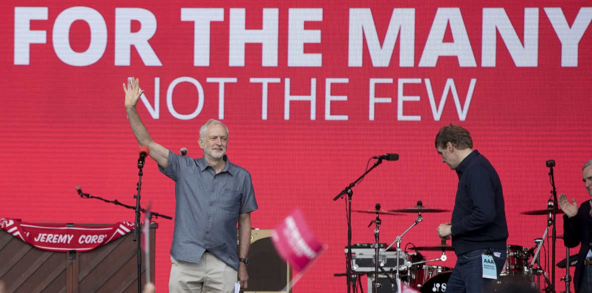 Jeremy Corbyn waves to the crowd at Labour Live
