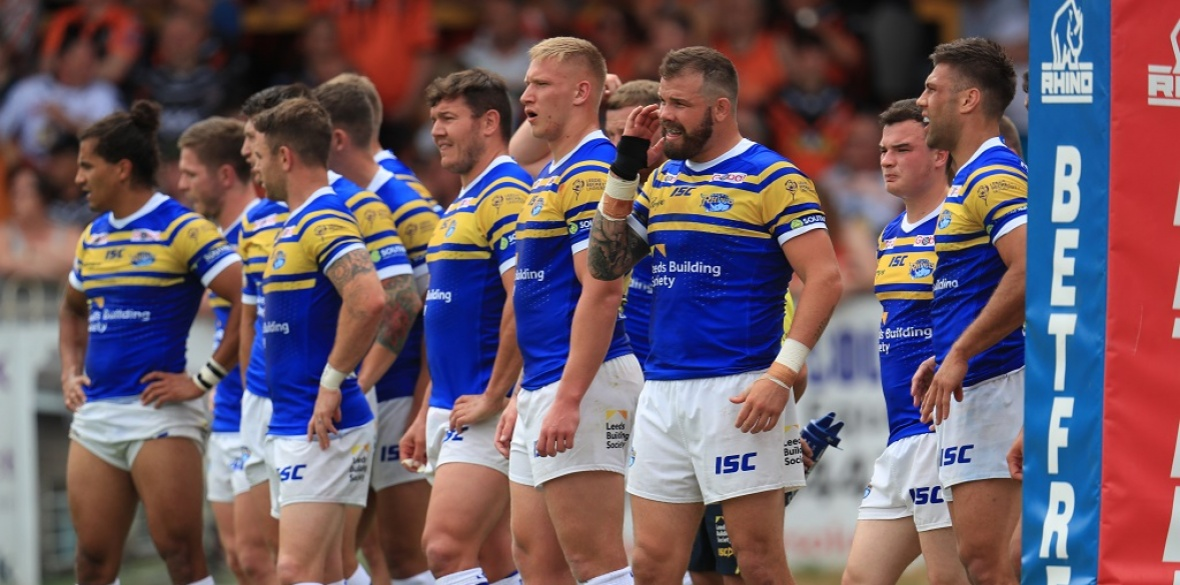 bb05f7a7876 Leeds Rhinos players stand dejected after conceding a try during the  Betfred Super League match at the Mend-A-Hose-Jungle, Castleford.