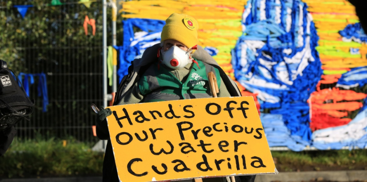 Fracking protesters outside energy firm Cuadrilla's site in Preston New Road, Little Plumpton, near Blackpool, England in October 2018