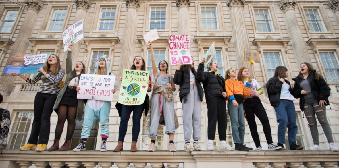 Students from the Youth Strike 4 Climate movement during a climate change protest on Parliament Square in Westminster, London, England last month