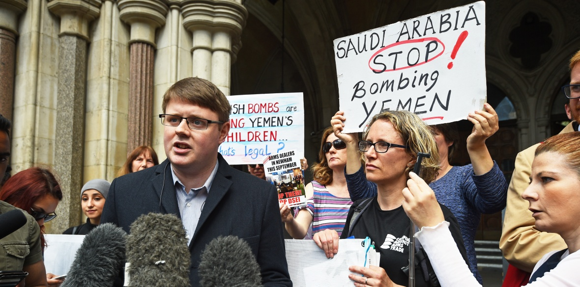 Andrew Smith, spokesperson for Campaign Against Arms Trade in Britain, speaks to the media outside the Royal Courts of Justice, London, after they won a landmark legal challenge at the Court of Appeal over the Government's decision to continue to allow arms sales to Saudi Arabia