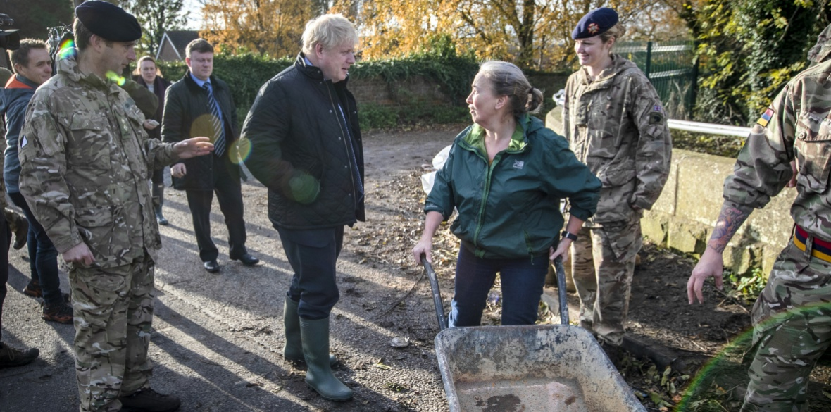The woman pushing a wheelbarrow told British Conservative Prime Minister Boris Johnson: 'I don't know what you're here today for'
