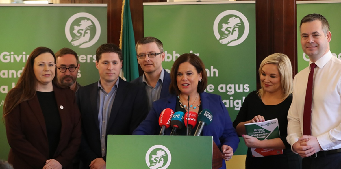 Sinn Fein leader Mary Lou McDonald speaks at a press conference at Wynn's Hotel in Dublin, on Sunday