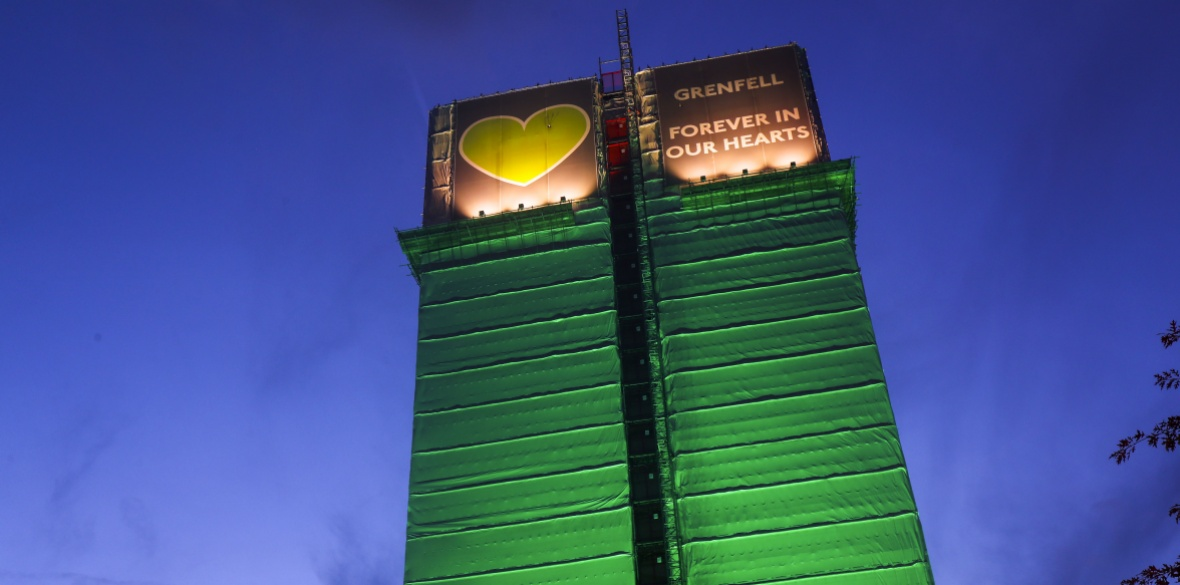 The remains of Grenfell Tower in London, England