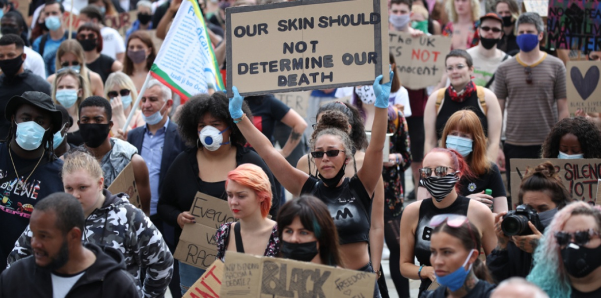 Protesters take part in an event in Leeds, organised by Black Lives Matter, following the death of George Floyd, who was killed on May 25 while in police custody in the US city of Minneapolis