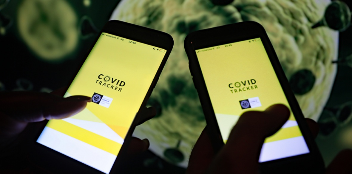Two phones with the official Irish health service executive 'Covid Tracker' contact tracing app installed on them as the government prepares to launch the app