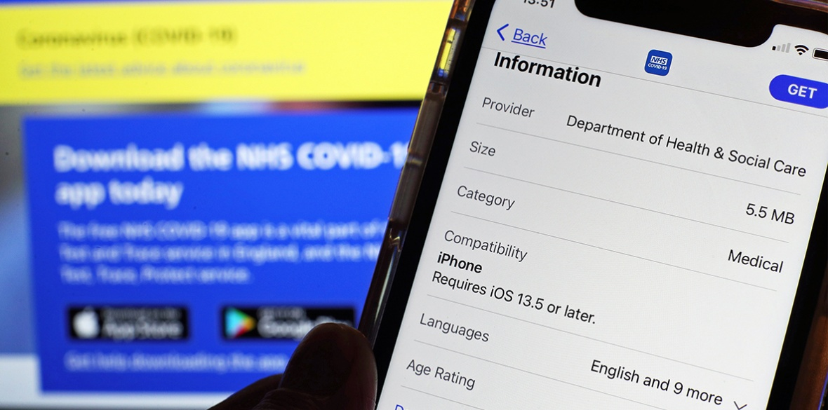 The NHS contract tracing app on an iPhone