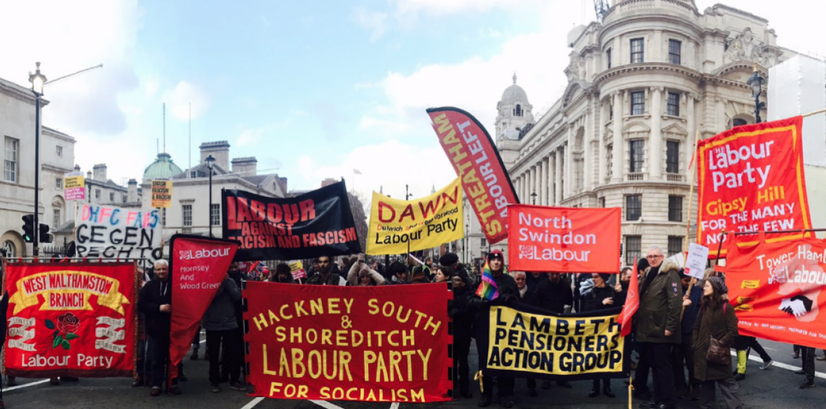 Supporters of Labour Against Racism And Fascism on a demonstration in London, December 2018 Photo: Labour Against Racism And Fascism - London/Twitter
